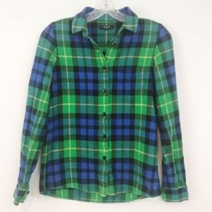 Madewell Button Down Plaid Top Blue Green Flannel
